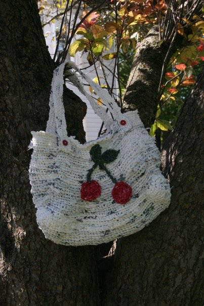 "The ""Saturday Bag"" created from recycled shopping bags."